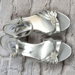 Lasonia women's Silver Heeled Sandals size 9